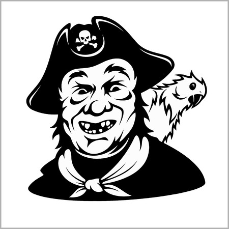 Funny smiling pirate with a parrot
