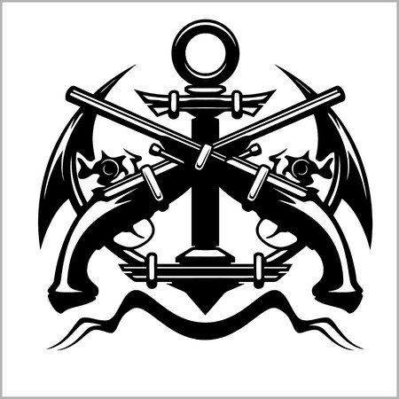 Pirate Emblem - Anchor and Pistol - Vector illustration pirate sign Illustration