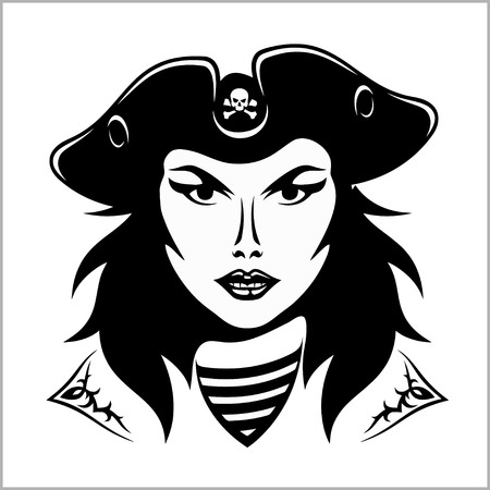 Girl Pirate - vector illustration. 矢量图像