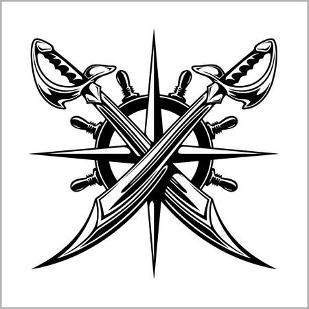 skull and crossed bones: Pirates emblem - steering wheel and crossed swords or sabers. Illustration