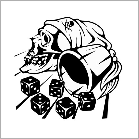 rockabilly: Skull and playing dice Illustration