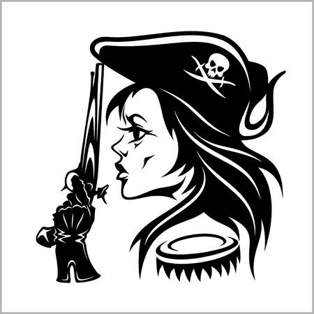 Girl Pirate - illustration vectorielle. Banque d'images - 77779497