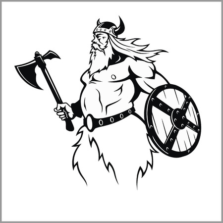 Viking with an axe preparing for battle