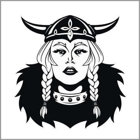 Viking woman warrior. Vector illustration