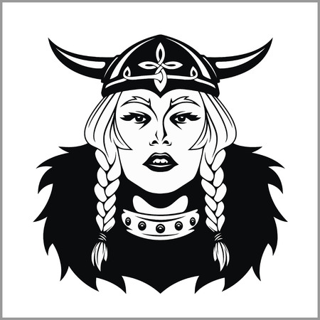 Viking woman warrior. Vector illustration