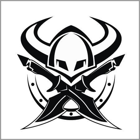 Viking Warrior Emblem - vector illustration isolated on white