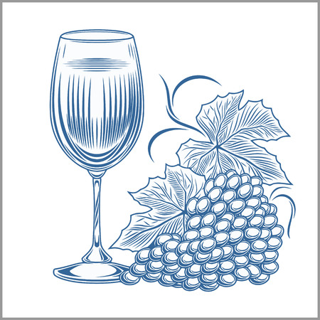 winemaking: wine and grapes vector illustration isolated on white Illustration