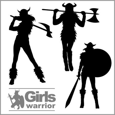 Vikings warriors nordic girl, scandinavian woman in helmet. Vector silhouettes.