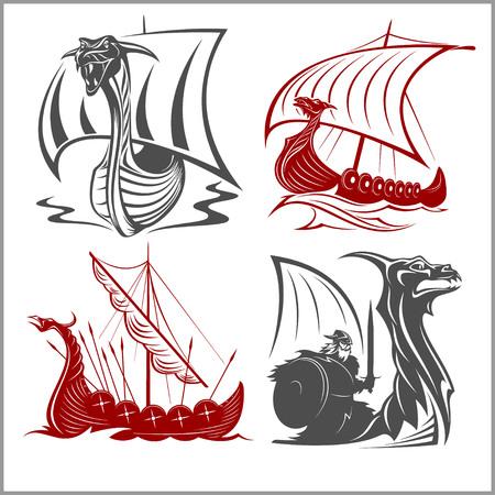 Vikings Ships vector set on white