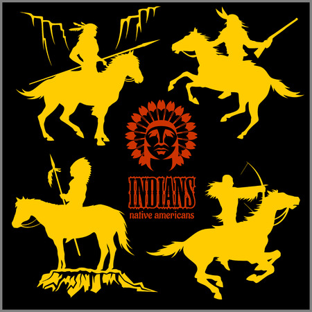 wild west silhouettes - native american warriors riding horses. Vector illustration isolated on black. Illustration