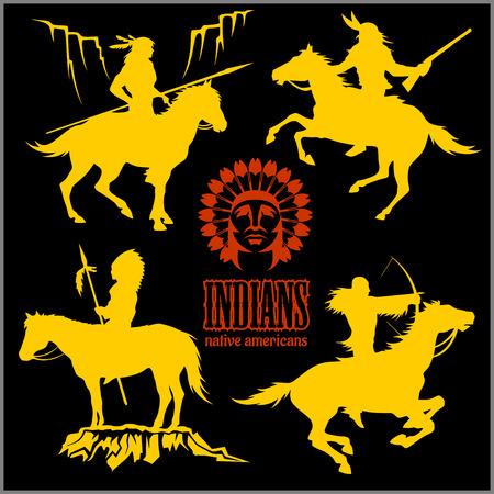 wild west silhouettes - native american warriors riding horses. Vector illustration isolated on black. Ilustração