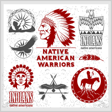 Set of wild west american indian designed elements. Monochrome style on light background