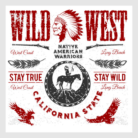 Set of wild west American Indian designed elements. Monochrome style on light background Illustration
