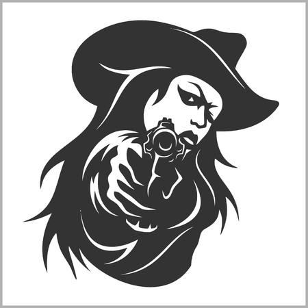 chica occidental con revólver - vector stock photo Ilustración de vector