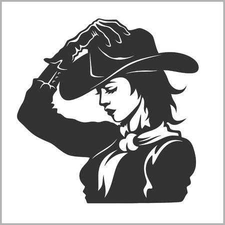 Cute Cowgirl 2 - Retro Clip Art vector illustration