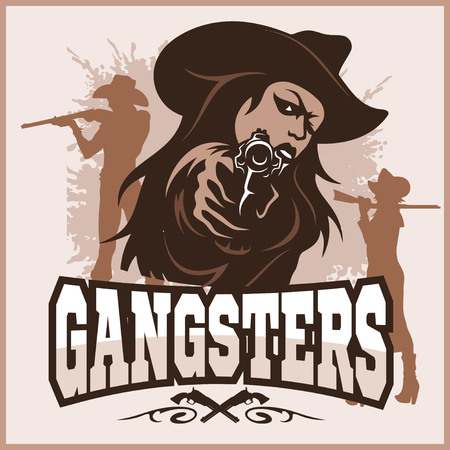 sexy gangster - Girl with a gun - vintage poster - vector stock illustration Illustration
