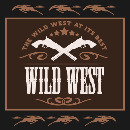 Vintage wild west poster with Crossed colts