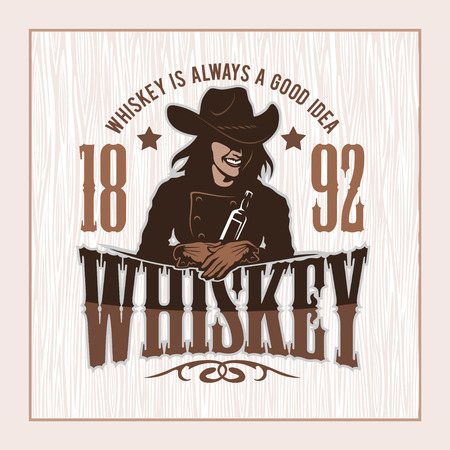 distillery: Vintage Whiskey Label with Girl - T-shirt Graphic
