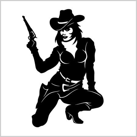 Pin Up Girl, Sexy Cowgirl Standard-Bild - 81952976