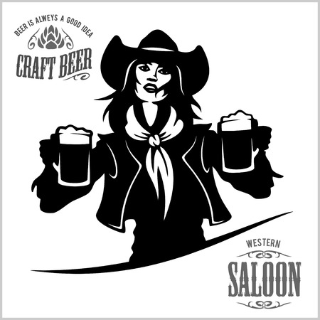 Girl with beer in a cowboy fashion. Illustration