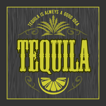 Vintage alcohol tequila drink vector bottle label. Sticker or poster for tequila tipple Vettoriali
