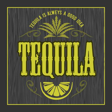 Vintage alcohol tequila drink vector bottle label. Sticker or poster for tequila tipple Illustration