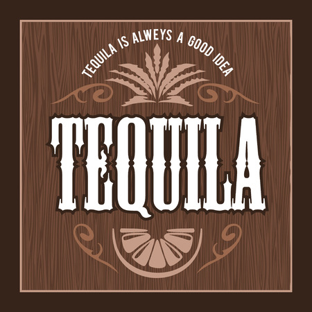 quality guarantee: Vintage alcohol tequila drink vector bottle label. Sticker or poster for tequila tipple Illustration