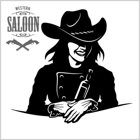 Cowgirl with bottle tequila - vector picture Vetores