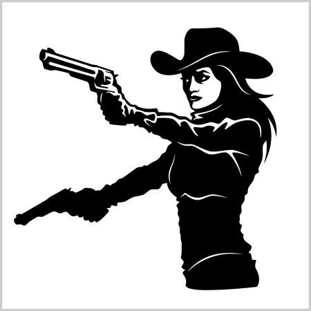 Westliches Mädchen mit Revolver Standard-Bild - 82266788