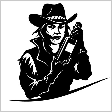 Cowgirl with bottle tequila - vector picture