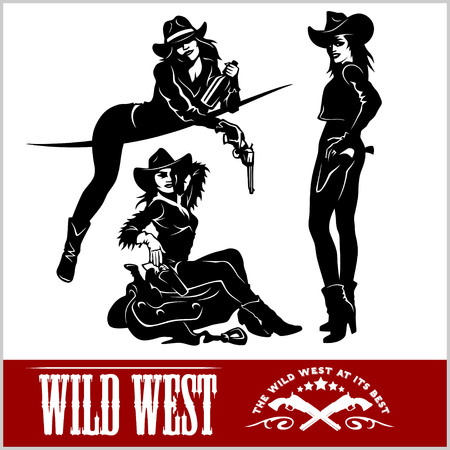 gunslinger: Silhouettes of Western Cowgirls Vector Illustration