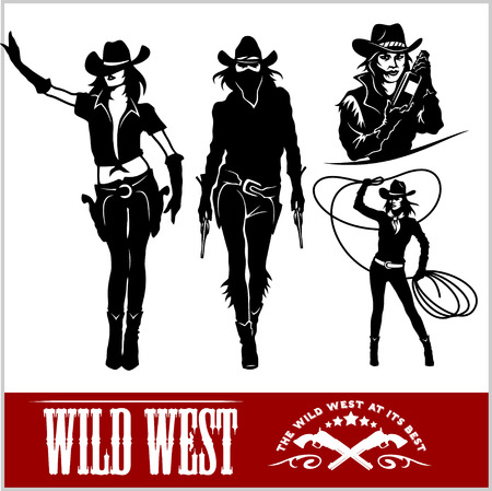 gunslinger: Silhouettes of Western Cowgirls. Vector Illustration - isolated on white