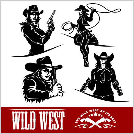 gunslinger: Silhouettes of Western Cowgirls. Vector Illustration