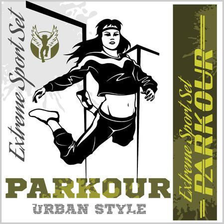 Girl parkour is jumping illustration and emblem.