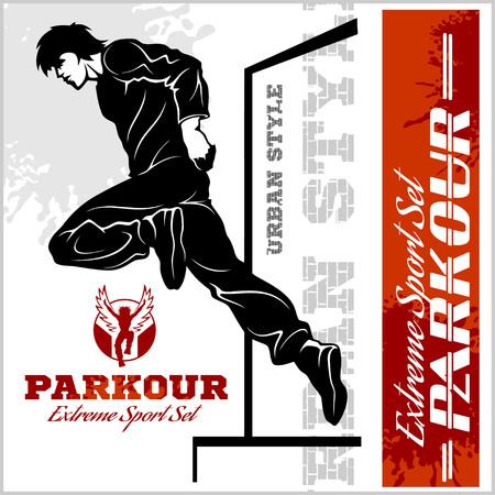Man doing parkour illustration and emblem design