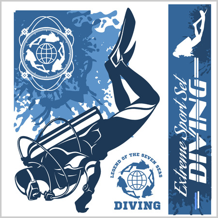 Diving club illustration and labels set Çizim