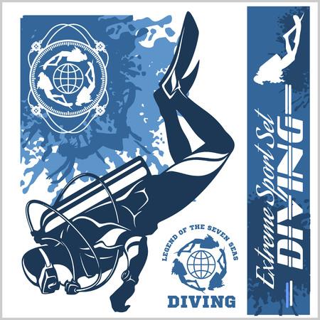 Diving club illustration and labels set Illustration