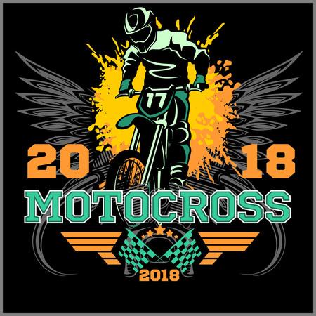 motocross rider badge logo emblem vector illustration