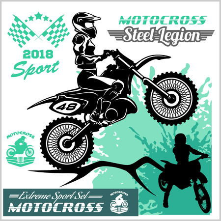 Motocross rider sideview vector emblem and logos