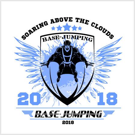 Wingsuit flying. Base-Jumping. Sport emblem