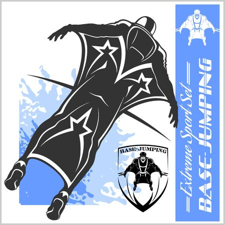Base-Jumping, Wing suit flying Sport vector illustration.