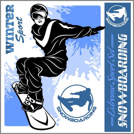 Snowboarding emblem Illustration man on dark background - vector set Çizim