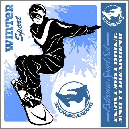 Snowboarding emblem Illustration man on dark background - vector set Illustration