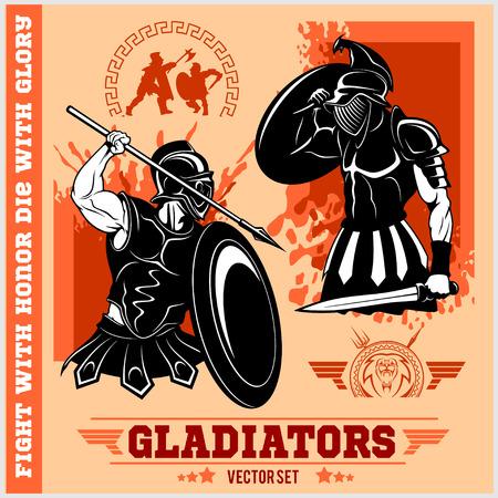 Set of gladiators on red background.