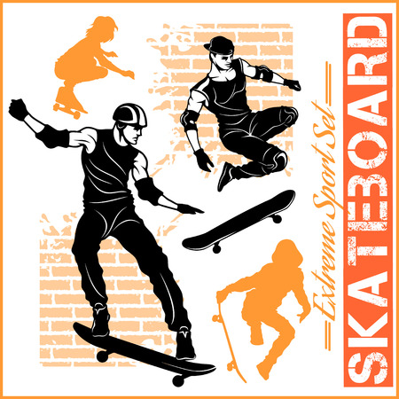 Set of Skateboarders extreme sport.