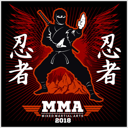 Ninja Warrior Fighter - Mixed Martial Art - vector illustration on black background Stock Photo