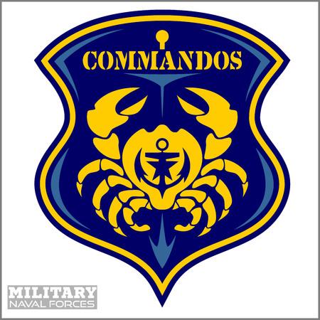 Crab - Military patch - marine theme  イラスト・ベクター素材