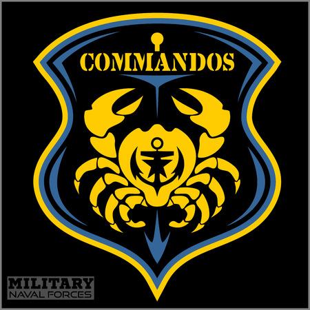Crab - Military patch - marine theme - vactor illustration