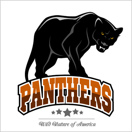 Panthers mascot - vector illustration isolated on white. Stock Illustratie