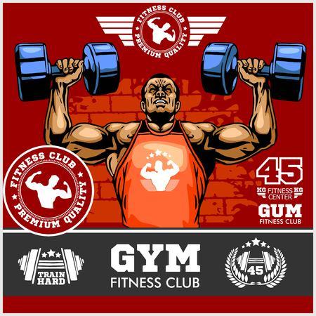Bodybuilder, faire des exercices pour les biceps, autocollant de bodybuilder professionnel, image vectorielle. Banque d'images - 94375766